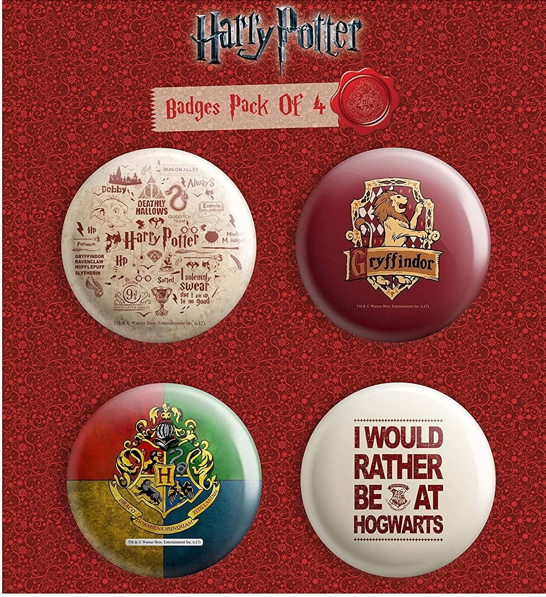 4 Harry Potter themed round badges.