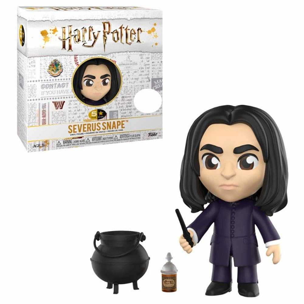 An action figure of Snape holding a wand with a cauldron placed next to him.