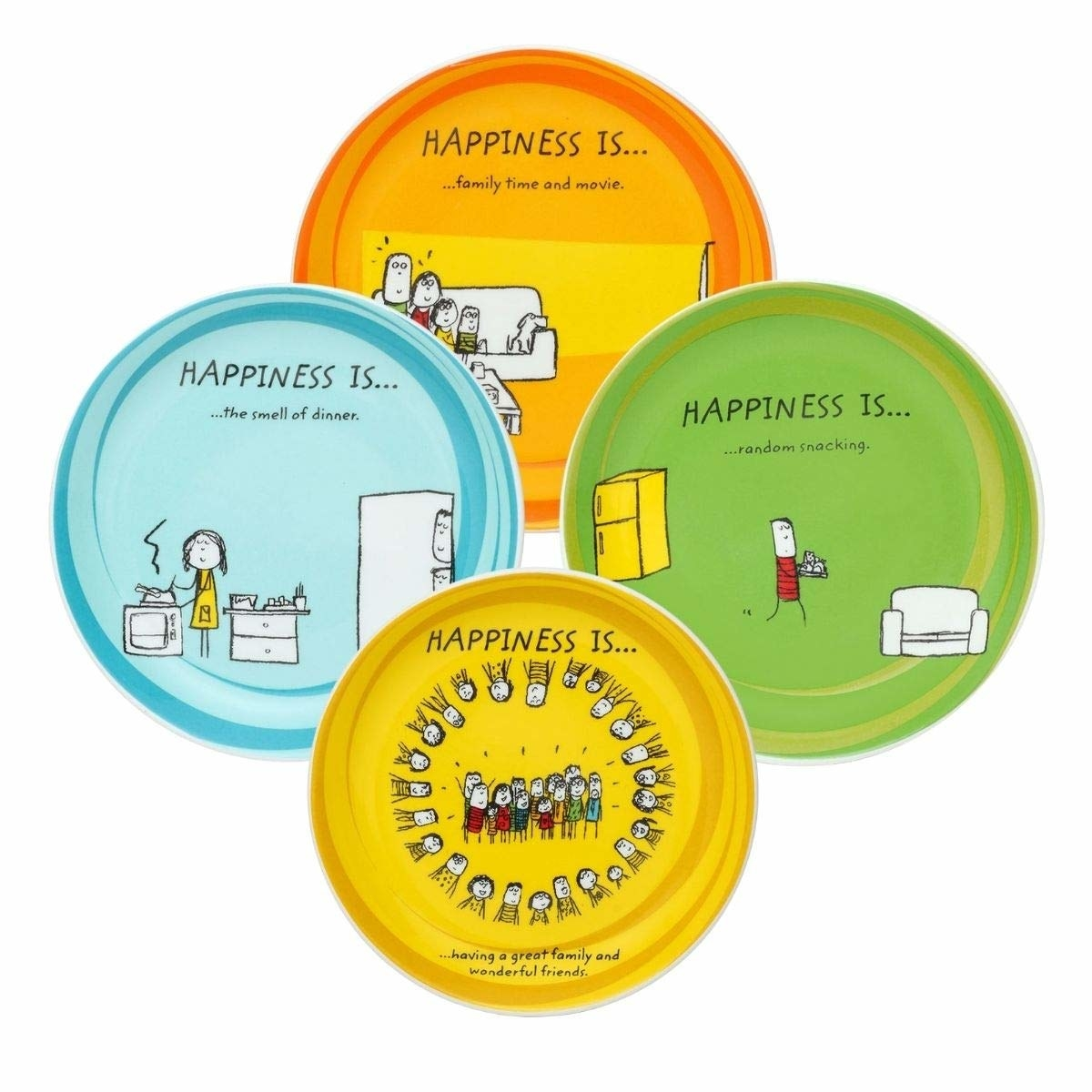 4 colourful plates with happiness quotes printed on them.