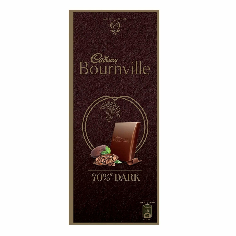 Bar of Cadbury Bournville 70% dark chocolate