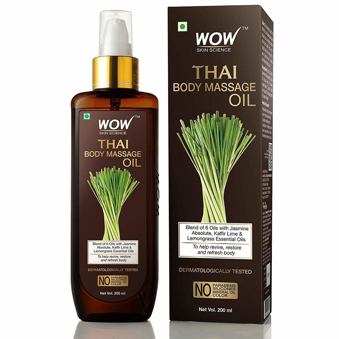 Brown Pump bottle and packaging of Wow Thai massage oil
