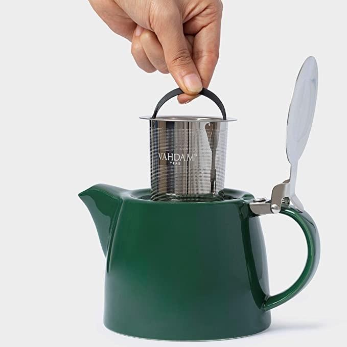 Emerald green porcelain pot.