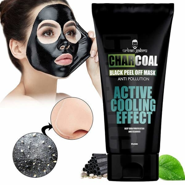 A woman peeling off the charcoal mask. Another image shows a close up of removed whiteheads on a peeled mask.
