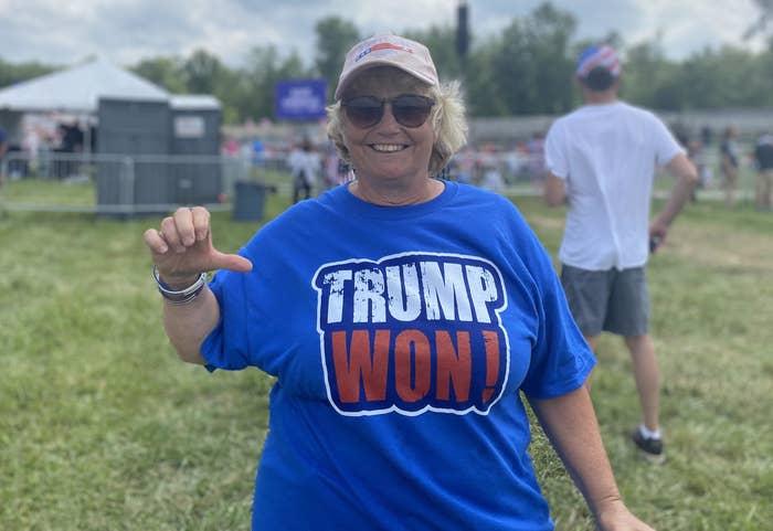 "Woman smiles while wearing a ""Trump Won!"" T-shirt"