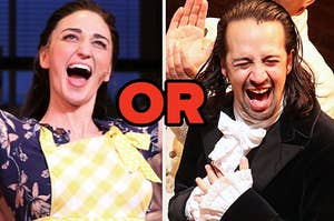"""Sara Bareilles is on the left with Lin Manuel Miranda on the right with """"or"""" written in the center"""