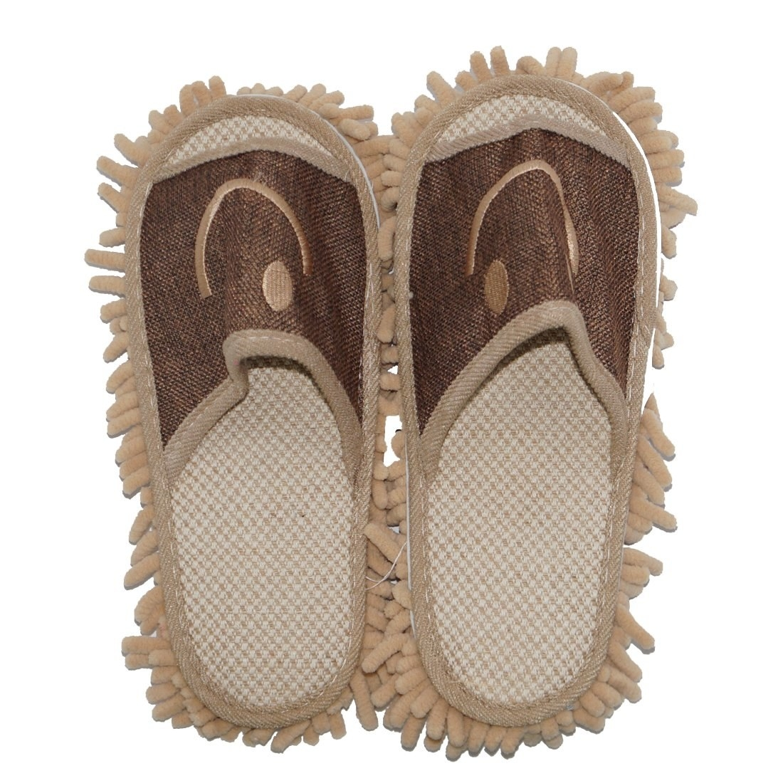 Brown slippers with mop on the bottom
