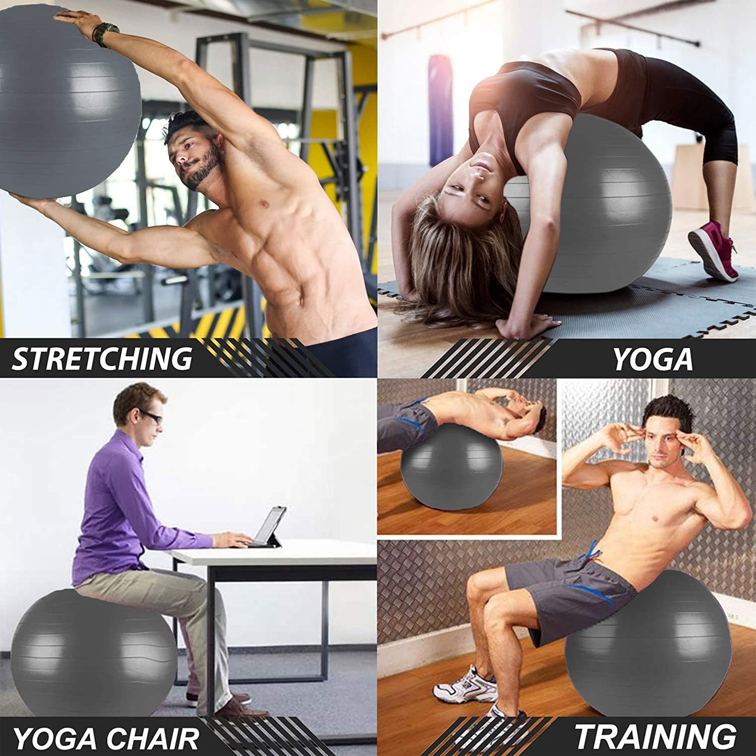 People using exercise ball for stretching, yoga training and as a chair