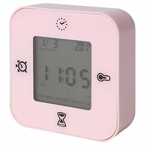 A pink timer with time, date and day display.
