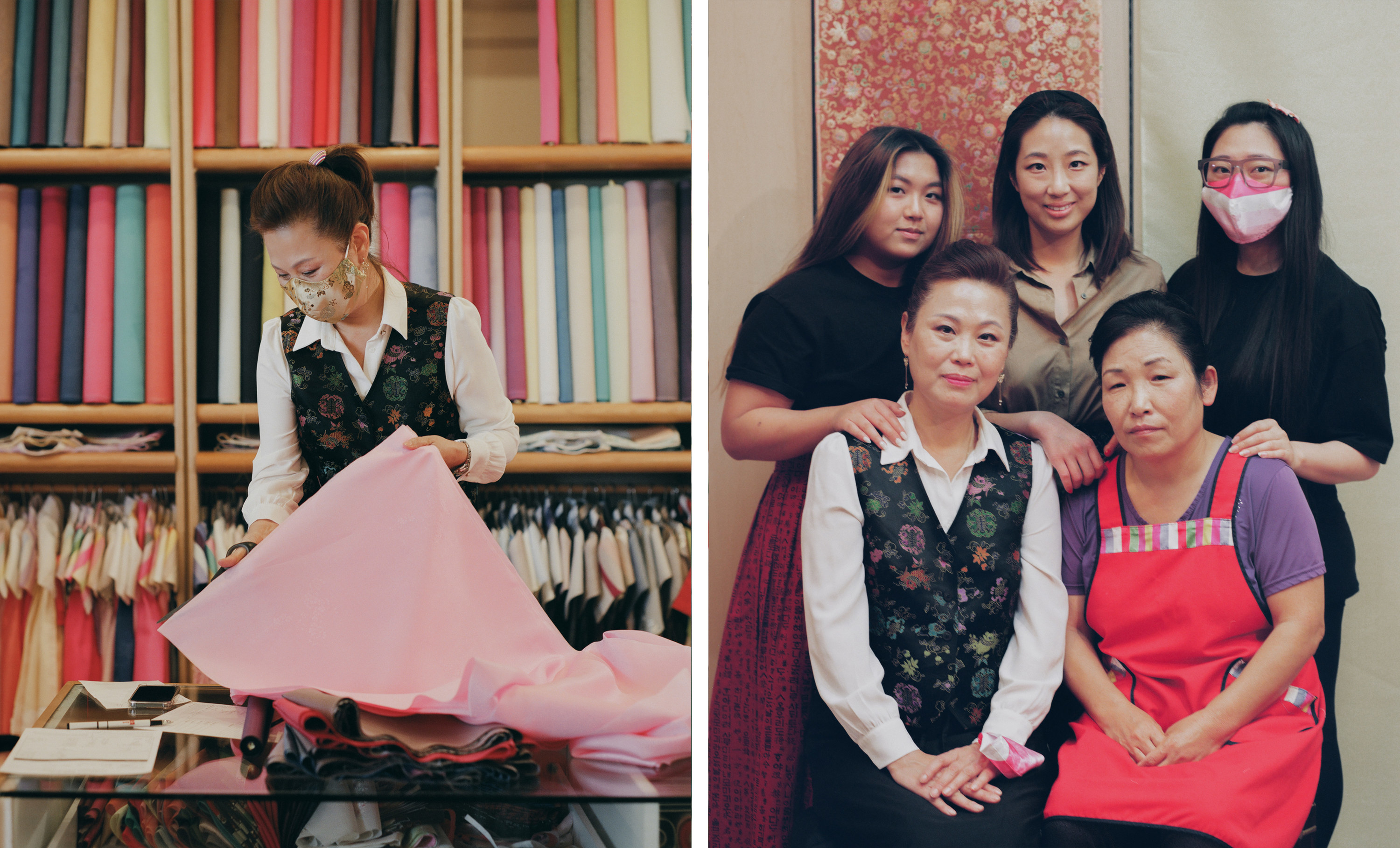 Left, a woman unfolding fabric in a dress shop, right, the same woman with four employees