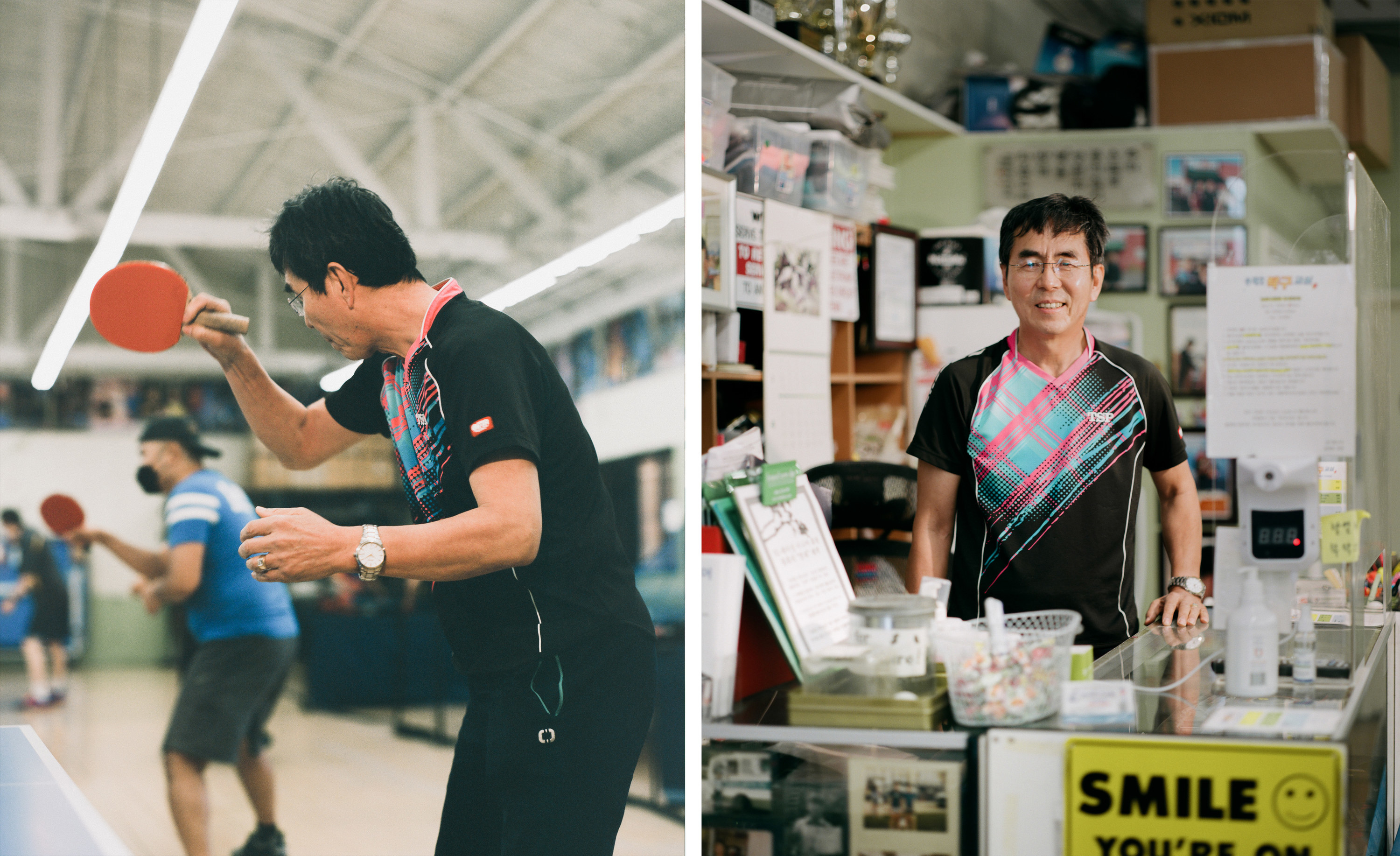 Left, a man in sportswear playing table tennis, right, the same man behind the counter