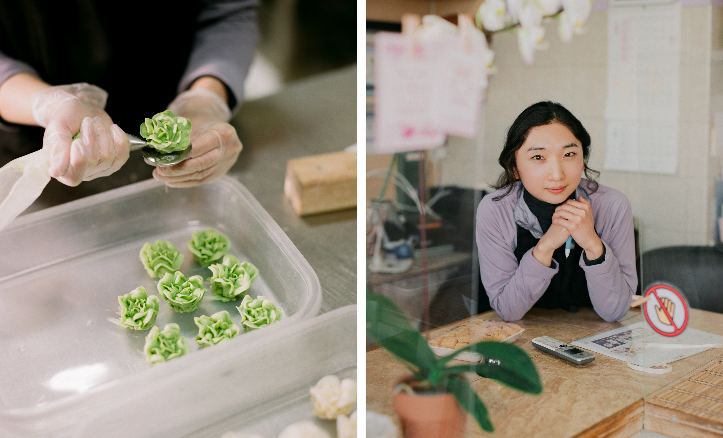 Left, small green rice cakes being placed in tupperware, right, the owner of the rice cake shop at a counter