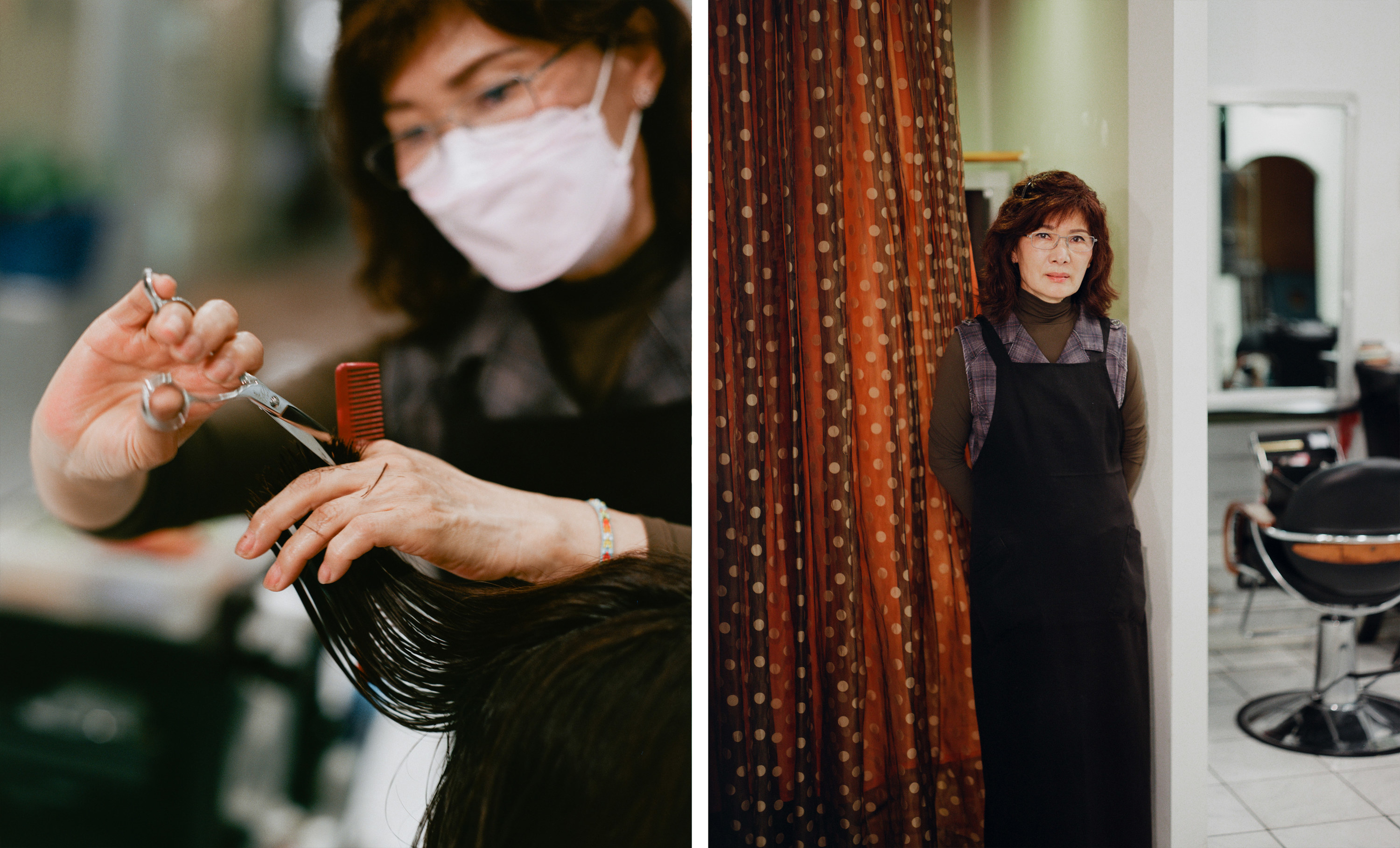 Left, a woman cutting hair, right, the same woman in front of a polka dot curtain