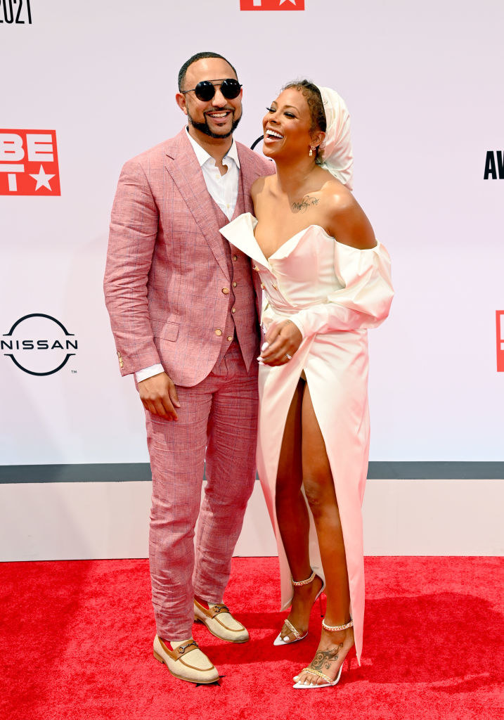 (L-R) Michael Sterling and Eva Marcille attend the BET Awards 2021 in matching outfits