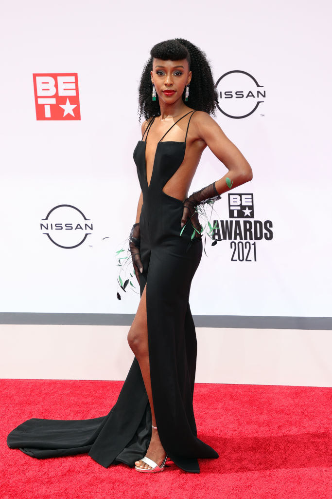 Ebony Obsidian attends the BET Awards 2021 in a v-cut, backless gown