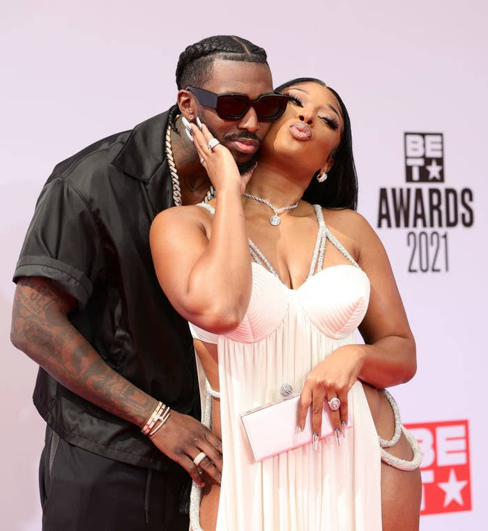 (L-R) Megan Thee Stallion and Pardison Fontaine attend the BET Awards 2021