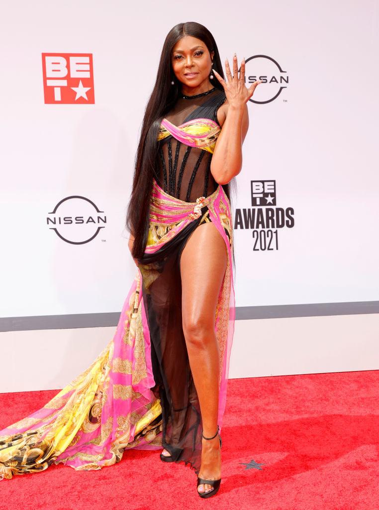 Taraji P. Henson attends the BET Awards 2021 in a floor-length dress