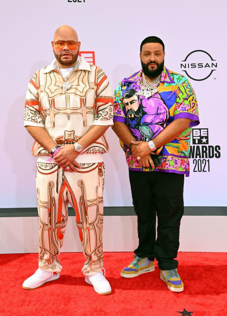 (L-R) Fat Joe and DJ Khaled attend the BET Awards 2021rocking multicolored shirts