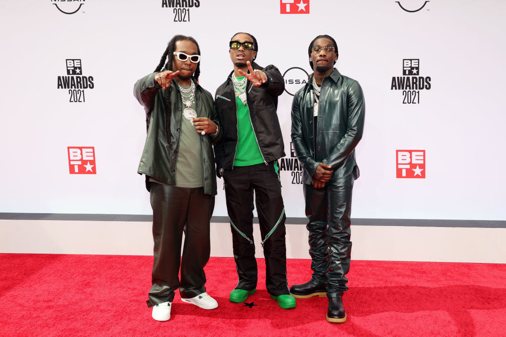 L-R) Takeoff, Quavo and Offset of Migos attend the BET Awards 2021