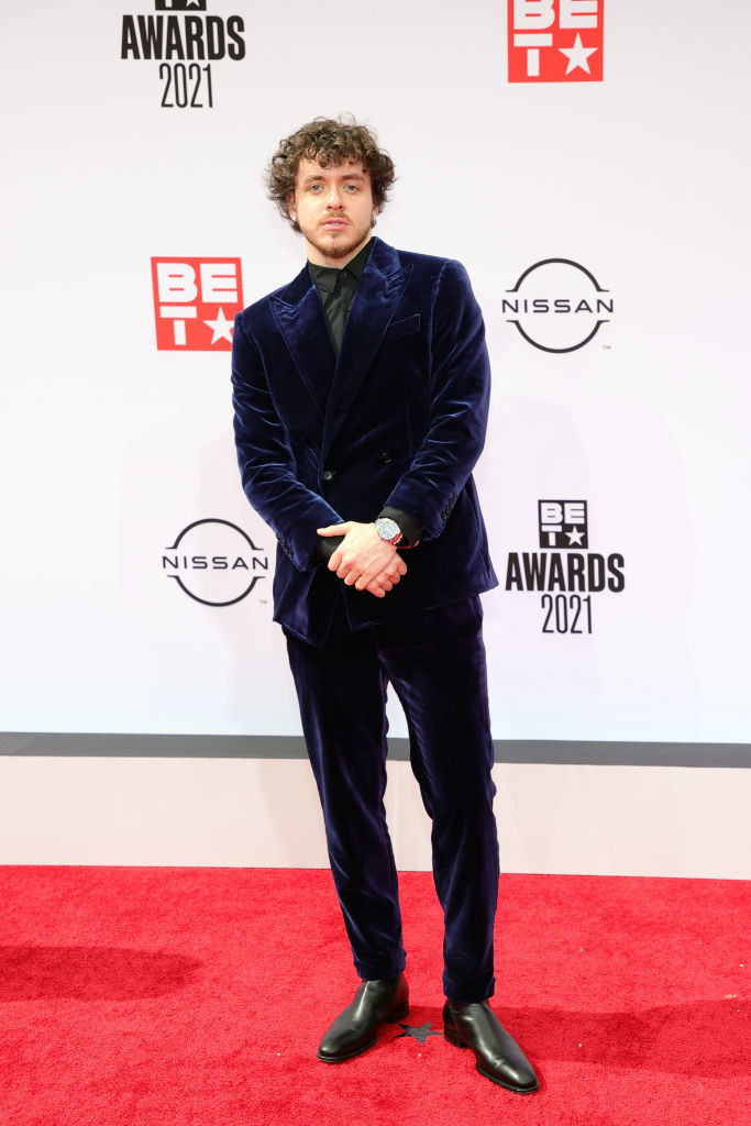 Jack Harlow attends the BET Awards 2021 in a midnight blue suit