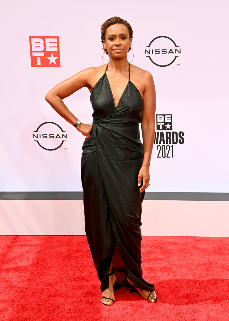 Ryan Michelle Bathe attends the BET Awards 2021 in a v-cut dress
