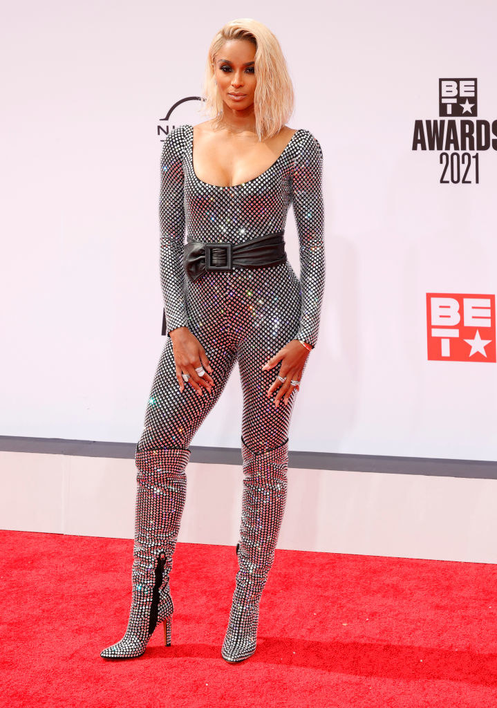 Ciara attends the BET Awards 2021 in a sequined bodysuit