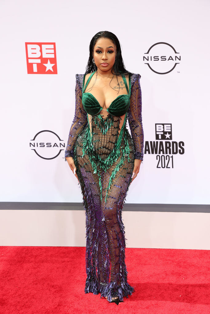 Yung Miami of City Girls attends the BET Awards 2021 in a two-toned illusion dress