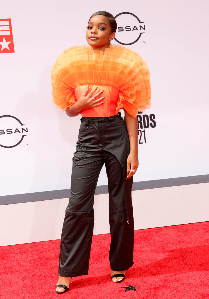 Marsai Martin attends the BET Awards 2021 in an ruffled top and pants