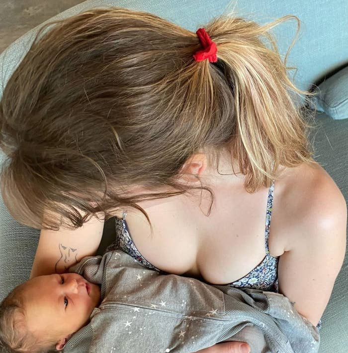 Clara McGregor holds Mary Elizabeth Winstead and Ewan McGregor's baby boy