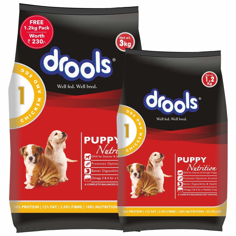 2 Drools puppy food packs.