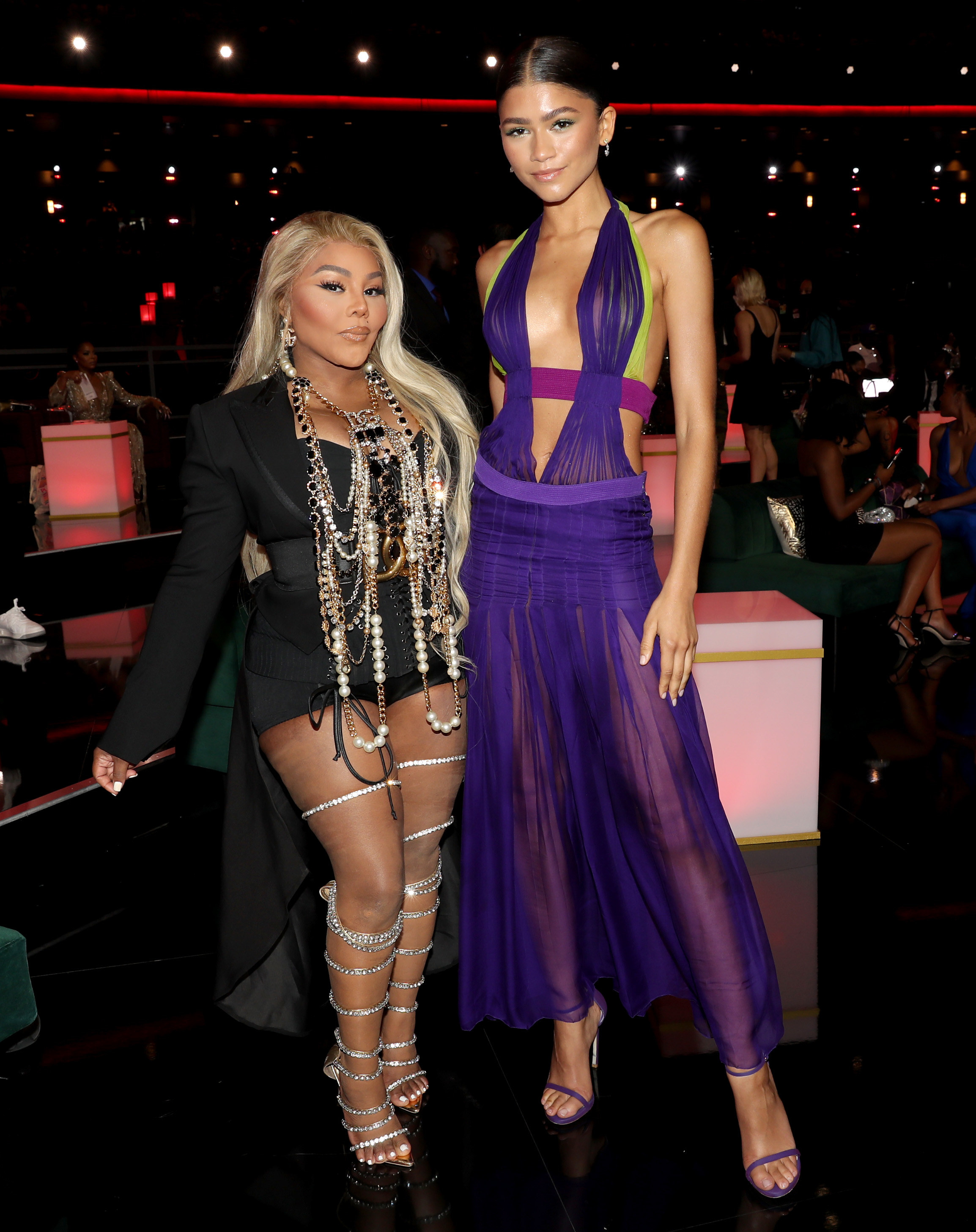 Lil' Kim and Zendaya (in the purrple dress) attend the BET Awards 2021 at Microsoft Theater on June 27, 2021 in Los Angeles, California