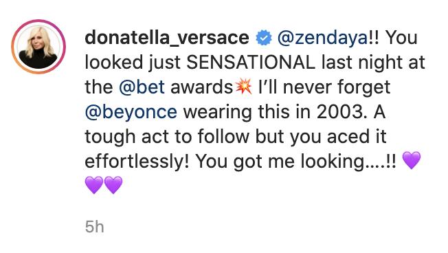 A screenshot of Donatella Versace's Instagram caption