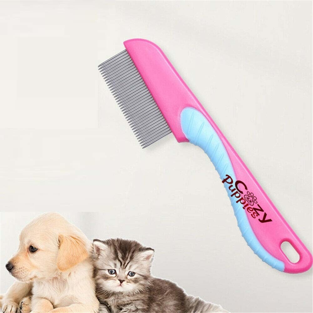 A stainless steel flea comb for dogs and cats.