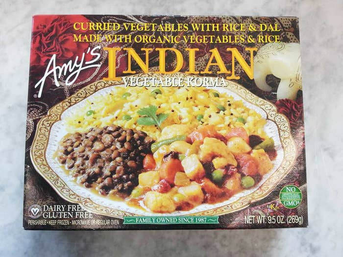 A frozen meal of Indian vegetable korma