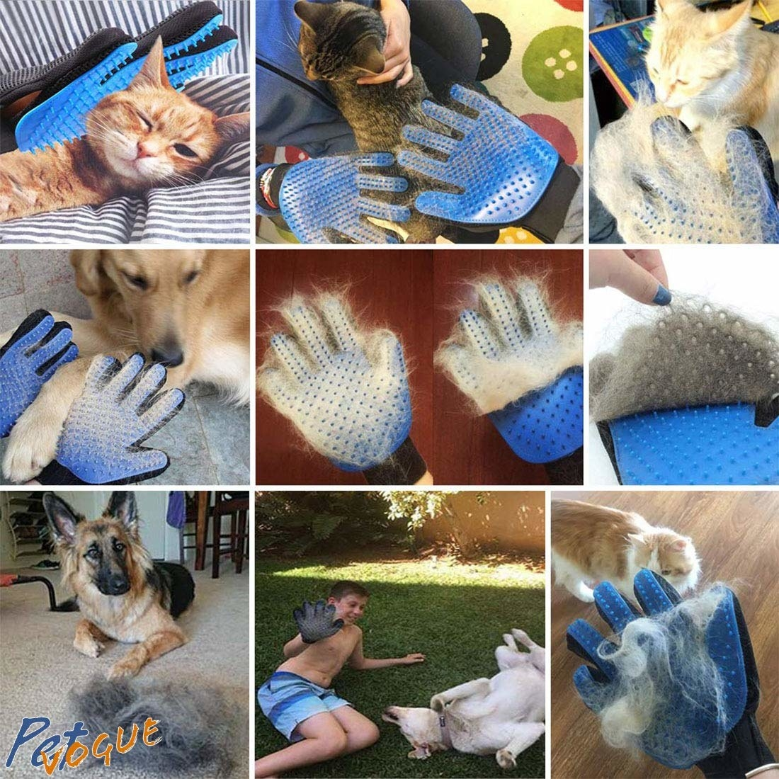 Numerous images show how a de-shedding grooming glove works on pets.