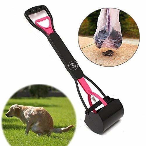 3 images of a dog pooping, a poop scoop picking it up, along with a full view of a poop scoop.