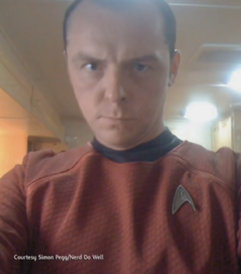 Simon Pegg in a Star Trek outfit