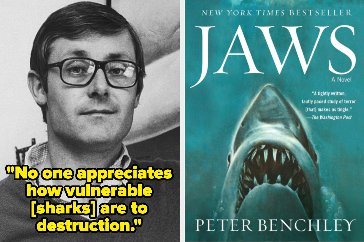 Peter Benchley and the cover of Jaws, with the quote: No one appreciates how vulnerable sharks are to destruction
