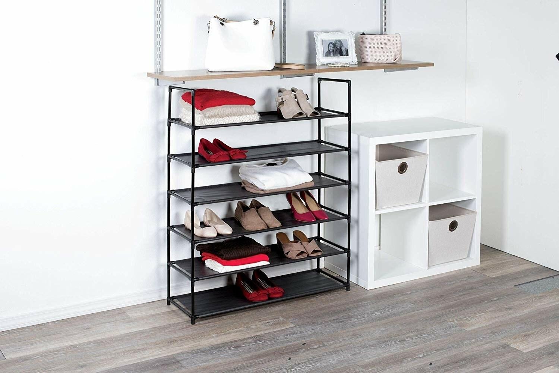 the black stackable shoe rack