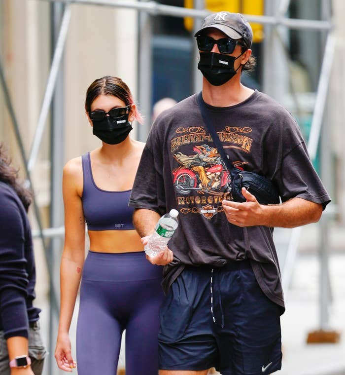 Kaia Gerber and Jacob Elordi come back from the gym on September 09, 2020 in New York City