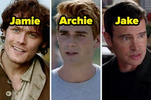 Jamie from Outlander, Archie from Riverdale, and Jake from Scandal