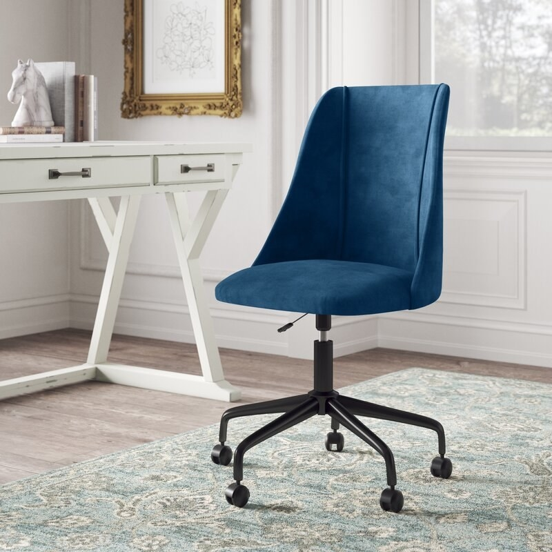 the desk chair in blue