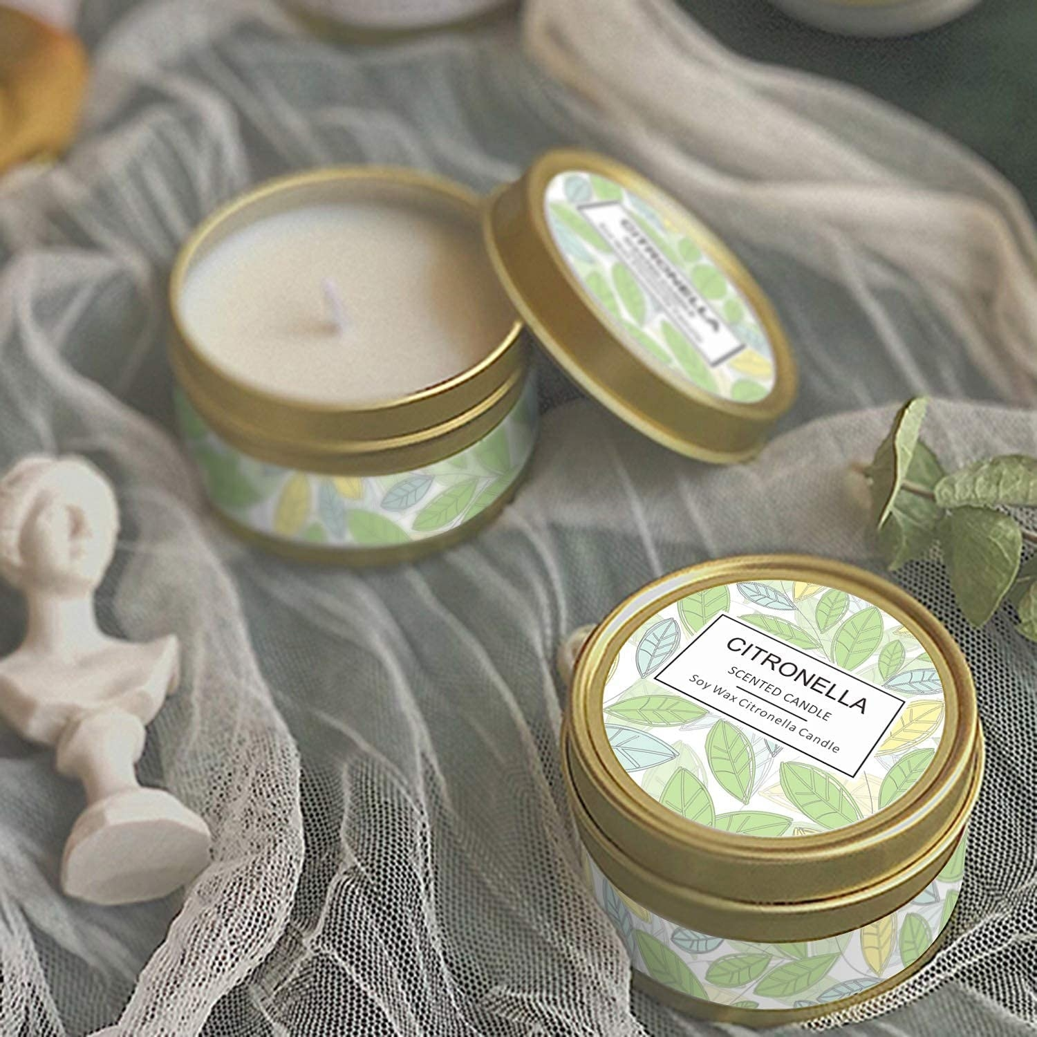 A flatlay of citronella candle tins