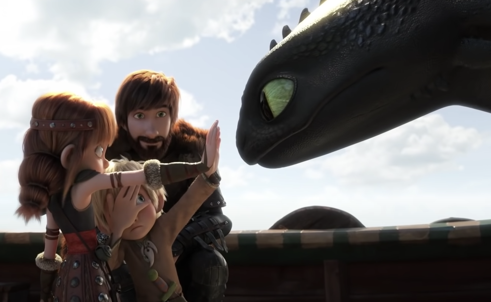 Hiccup and his children meeting Toothless