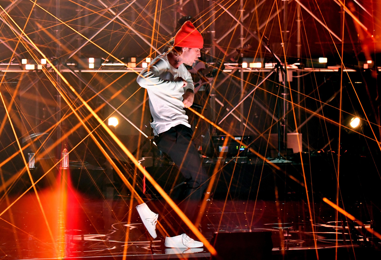 Justin performing