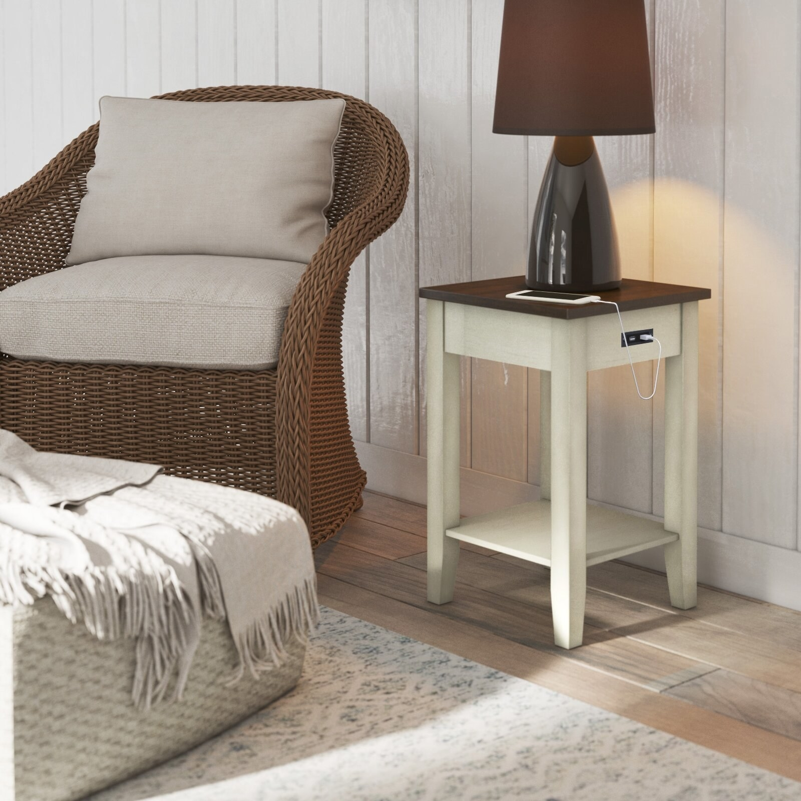 the side table in brown and white with a phone plugged into the USB port
