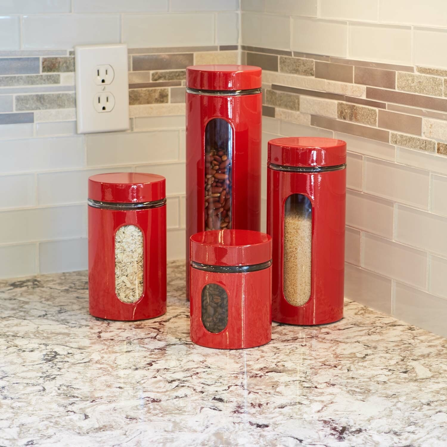 The canister set in red