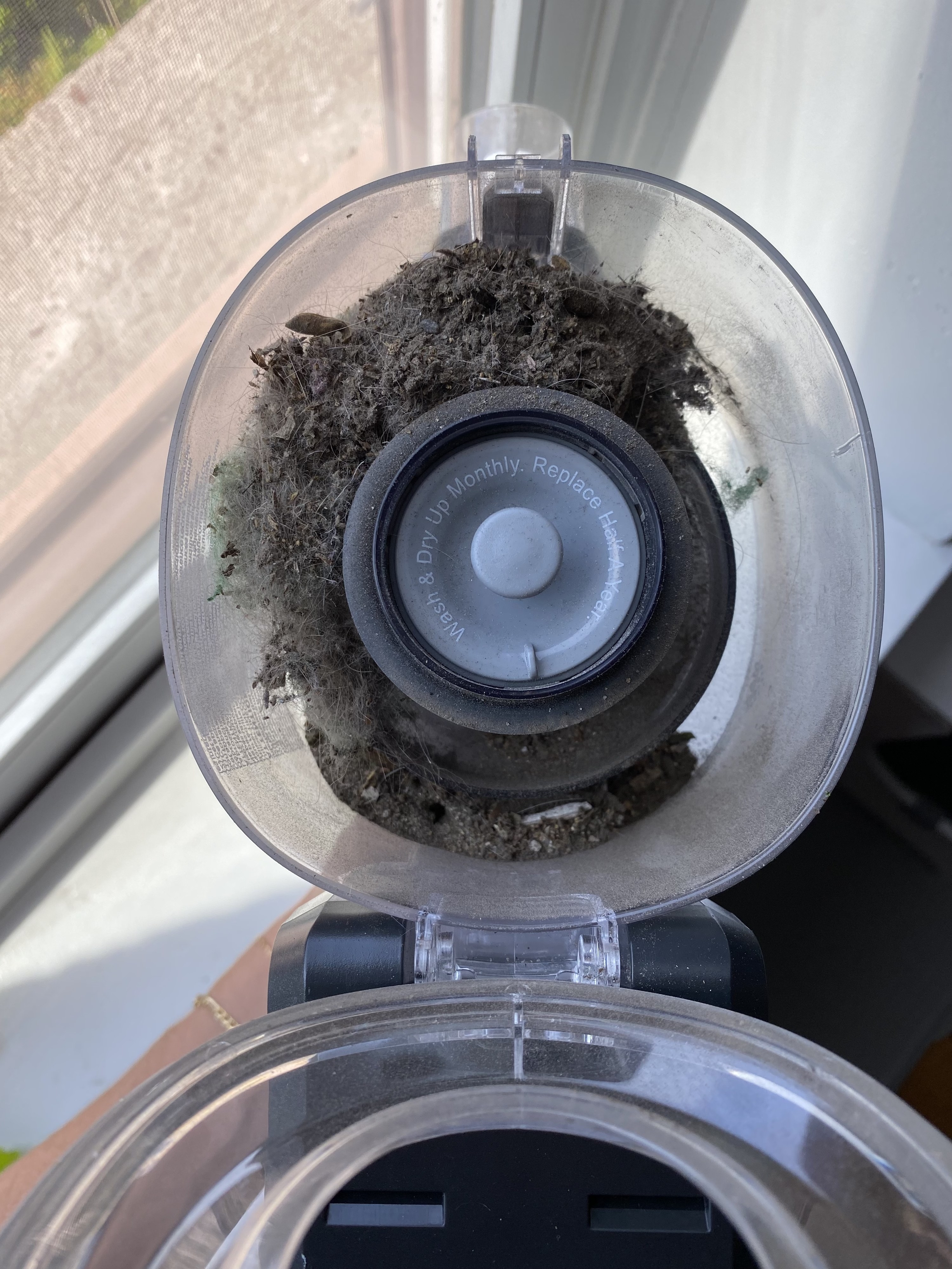 the vacuum canister full of fuzzy grey refuse