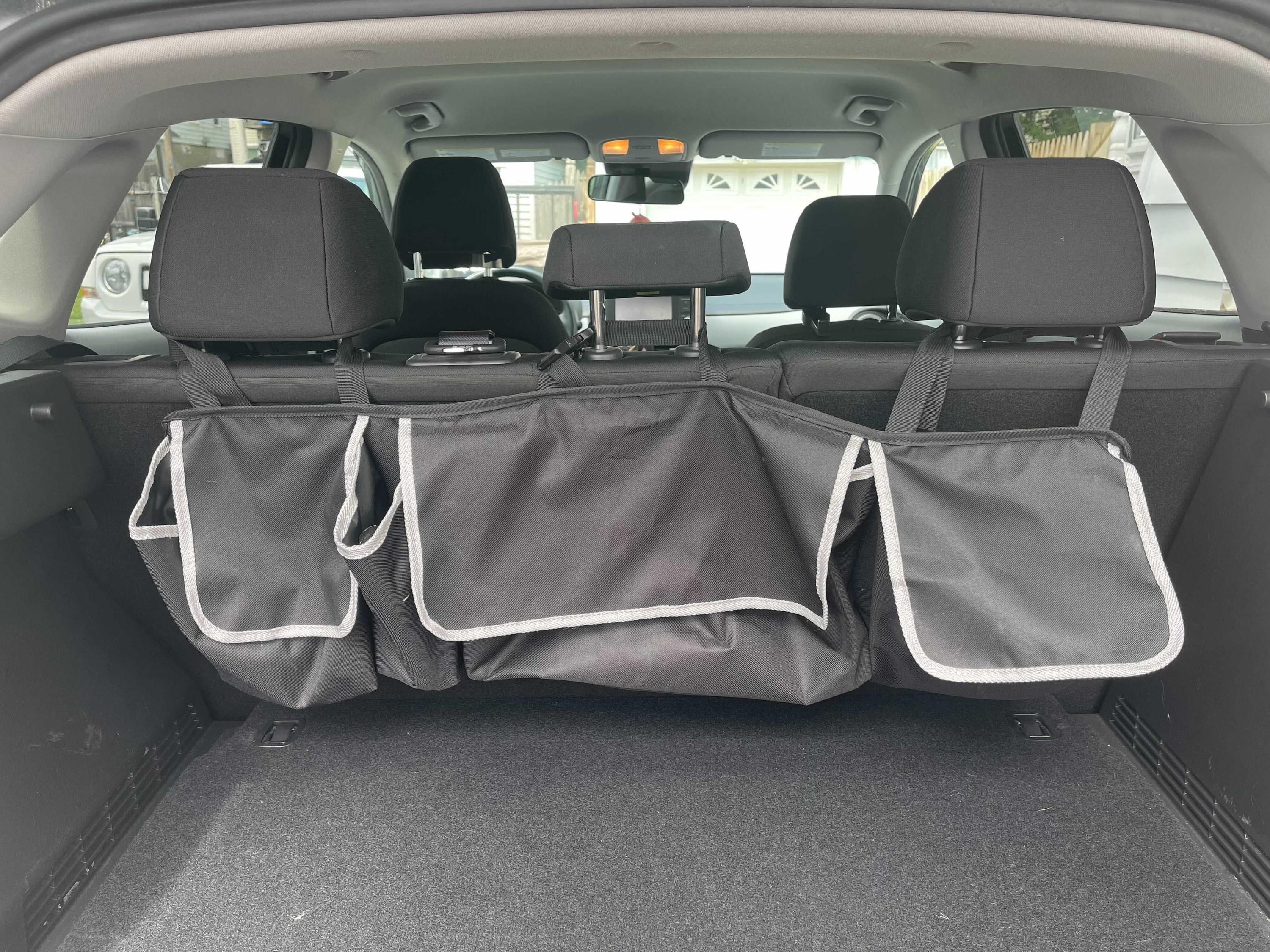 The organizer in the trunk of a car