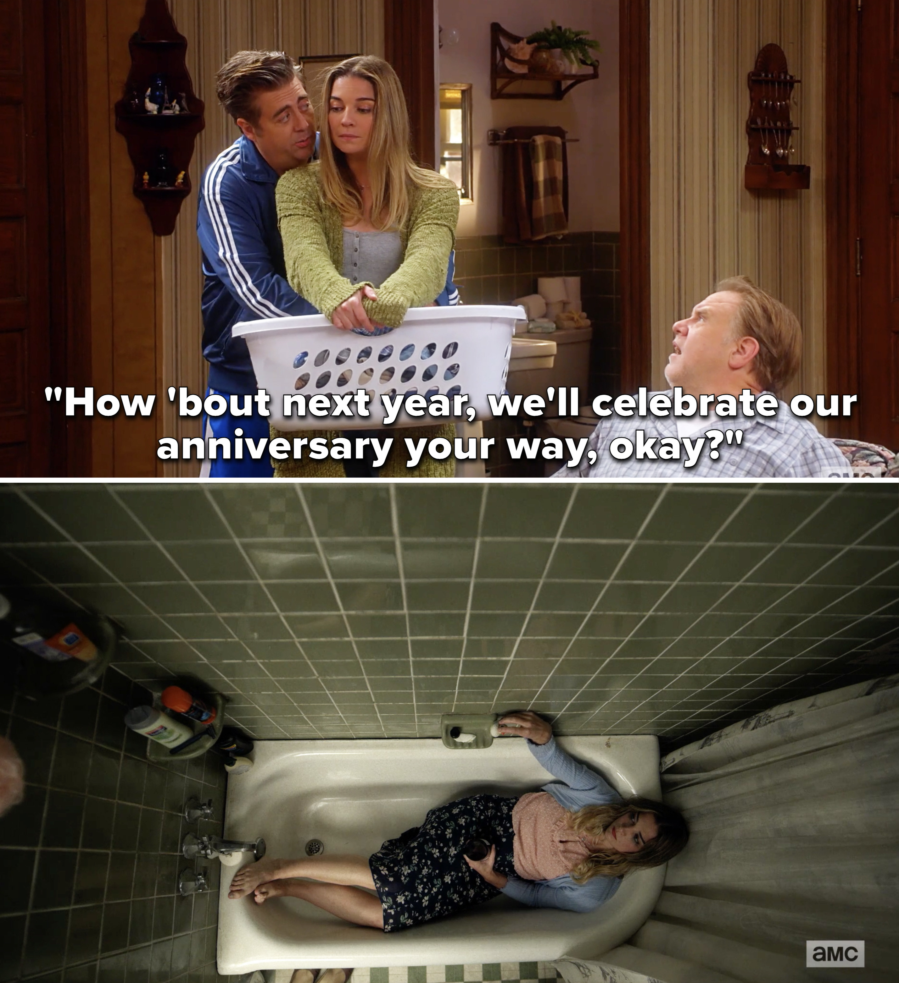 """Kevin telling Allison, """"How 'bout next year, we'll celebrate our anniversary your way, okay?"""" and a still of Allison sitting fully clothed in the bathtub"""