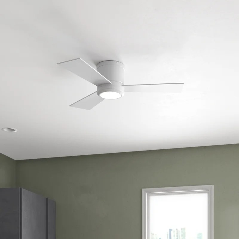 The white fan with three blades and a light in the middle attached to a ceiling